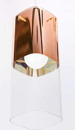 Pendente Mirage 10x10x27 1/2 1 Luz - Cobre