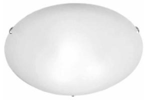 Plafon Clean em Vidro Redondo 30cm 2 Luzes - Branco Cromado