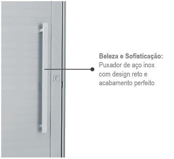 Porta Alumifort Direita com Lambri Horizontal e Puxador 216x98