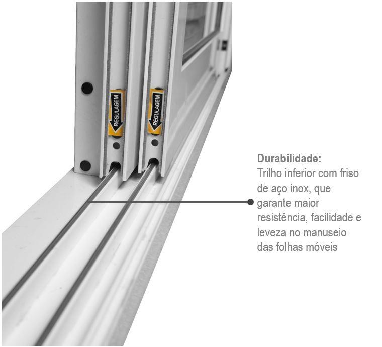 Porta Balcão de Correr Direita Aluminium 3 Folhas 216x160 - INATIVO