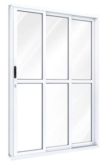Porta Correr Lateral 3 Folhas 1 Fixa 2 Móveis 213x150 x13 direita Riobas aluminio A156.2