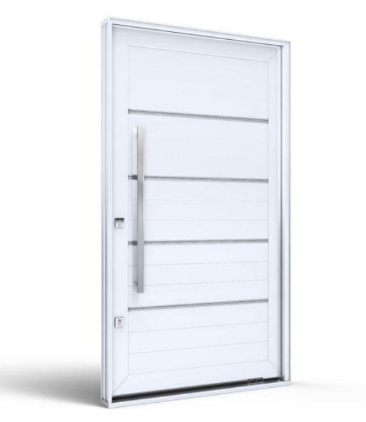 Porta de Alumínio Pivotante com Friso  225x130Cm - Branco - INATIVO