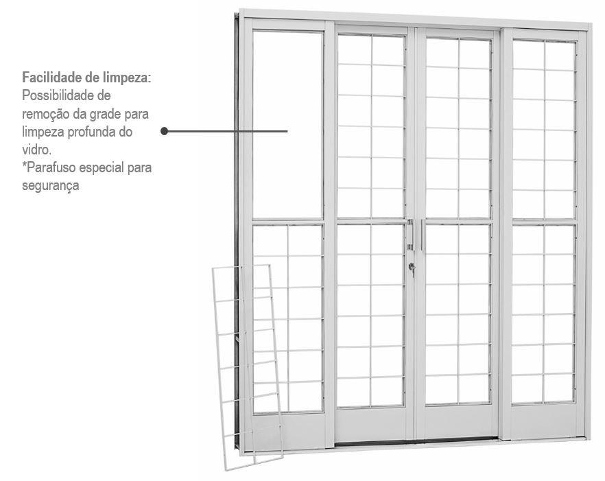 Porta de Correr Aço Kompacta Grade Quadriculada 4 folhas 217x200 - INATIVO