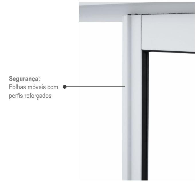 Porta de Correr Alumínio Com Divisão Central Slim 216x200x6cm 78.50.102-2