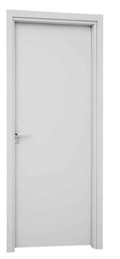 Porta Interna de Abrir com Fechadura para Banheiro Alumínio Direita 215x76x14Cm - Branco