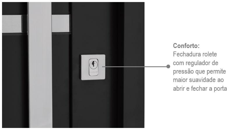 Porta Prátika Aço Direita com Lambris e Friso Inox 217x88 - Preta - INATIVO