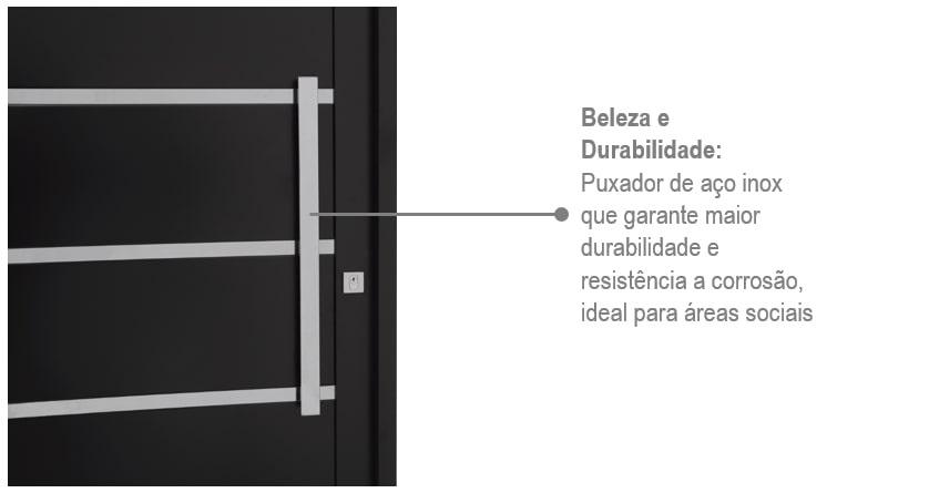 Porta Prátika Aço Esquerda com Lambris e Friso Inox 217x88 - Preta - INATIVO