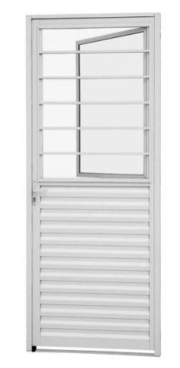 Porta Social de Abrir com Postigo Alumínio Direita 215x87Cm - Branco