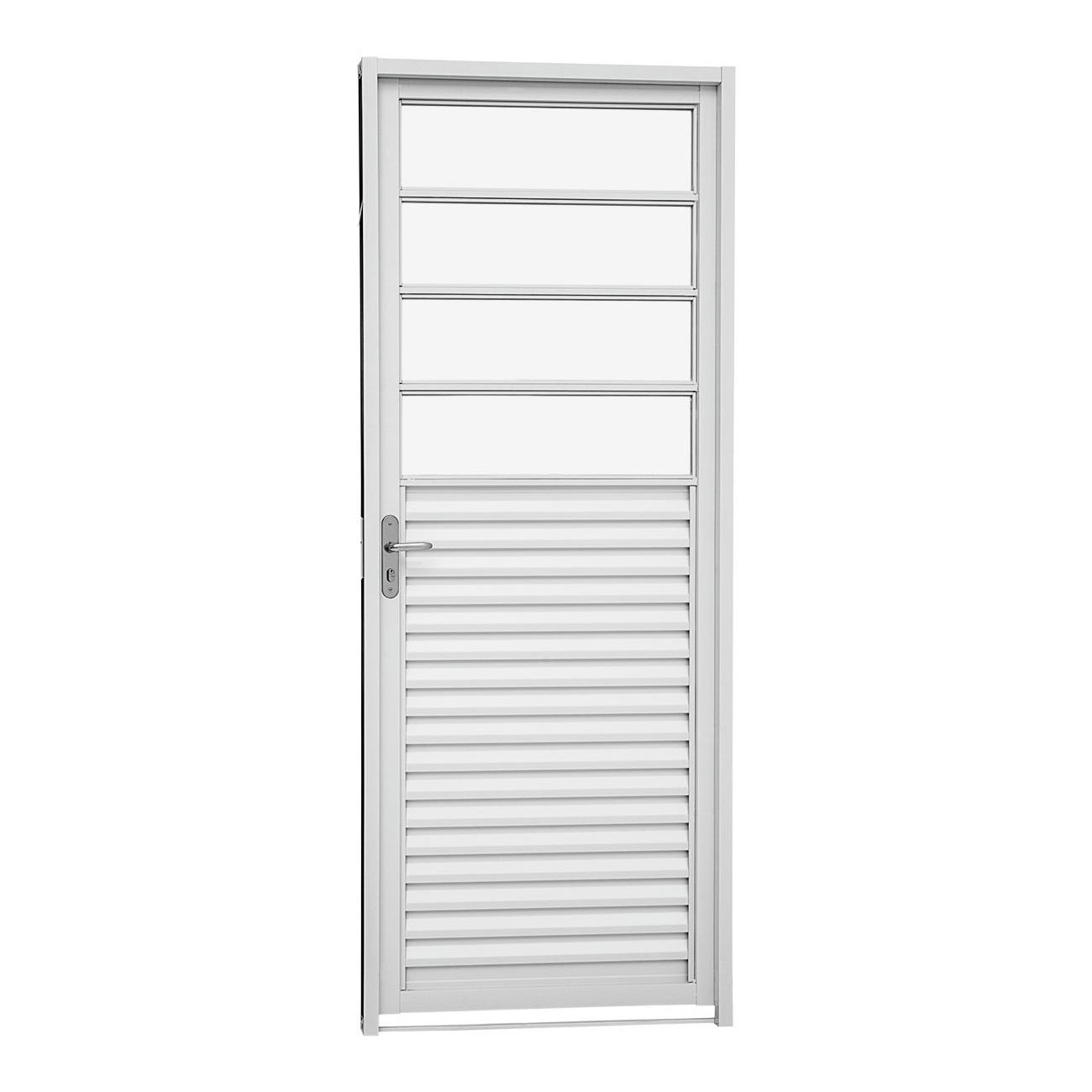 Porta Veneziana Direita Kompacta Aço com Vidros Horizontais 217x87