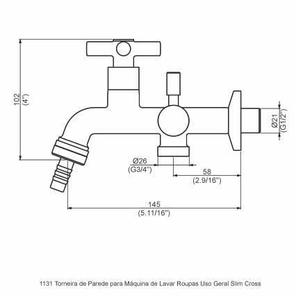 Torneira Parede Tanque/ Máquina de Lavar Dn15-20 1131 C37