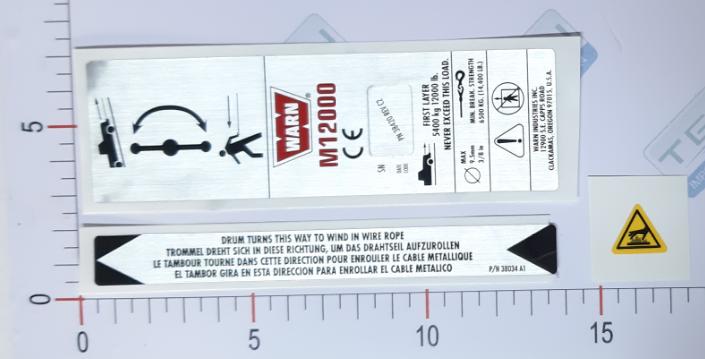 Adesivo Ident. Guincho Warn CE M12000 SB - 38424