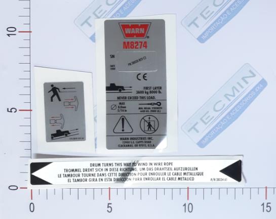 Adesivo Ident. Guincho Warn CE M8274 SB - 38307