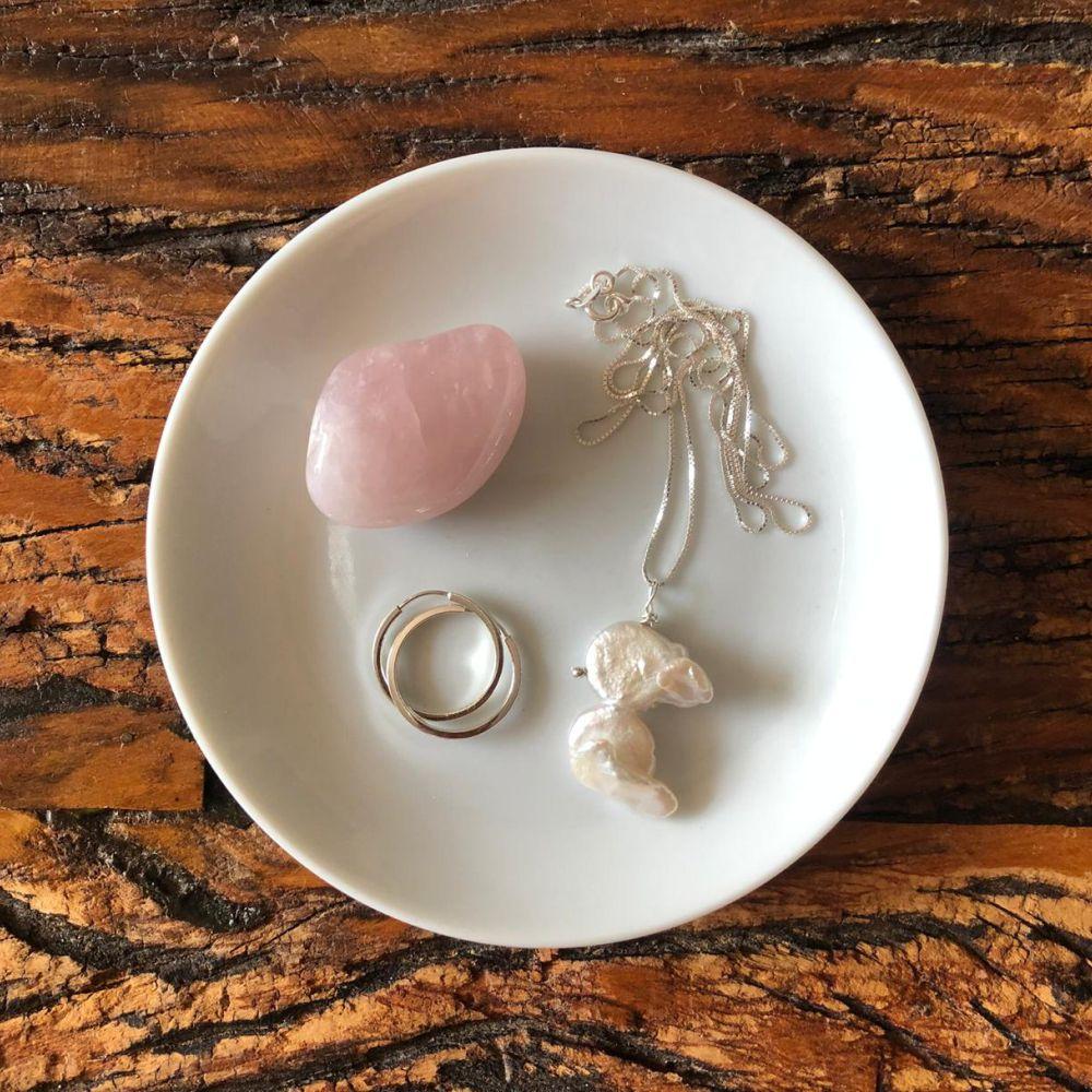 Pratinho Joia do dia - quartzo rosa
