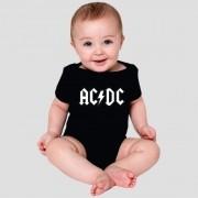 Body Bebe Ac/Dc Manga Curta Preto