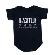 Body Led Zeppelin Manga Curta Preto Algodão