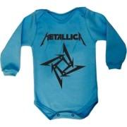 Body Manga Longa Metallica Azul