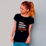 Camiseta ADULTO da Mamãe Amiga Roqueira Parceira Minha Filha