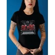Camiseta Baby Look Adulto Black Ice AC/DC STAMP