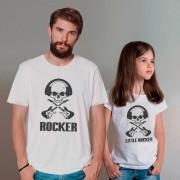 Kit Camisetas Pai e Filha Fita ROCKER CAVEIRA