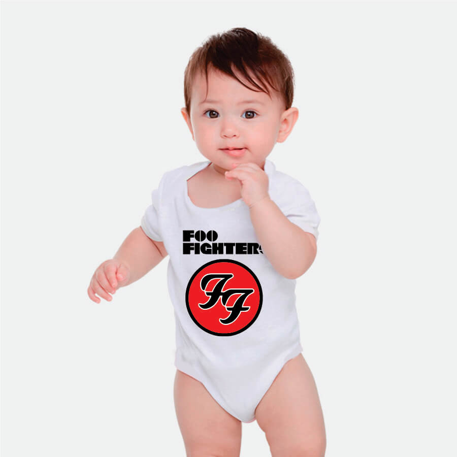 Body Foo Fighters Manga Curta Branco