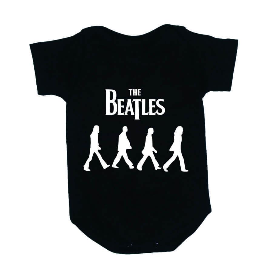 Body Bebe Beatles Manga Curta Preto