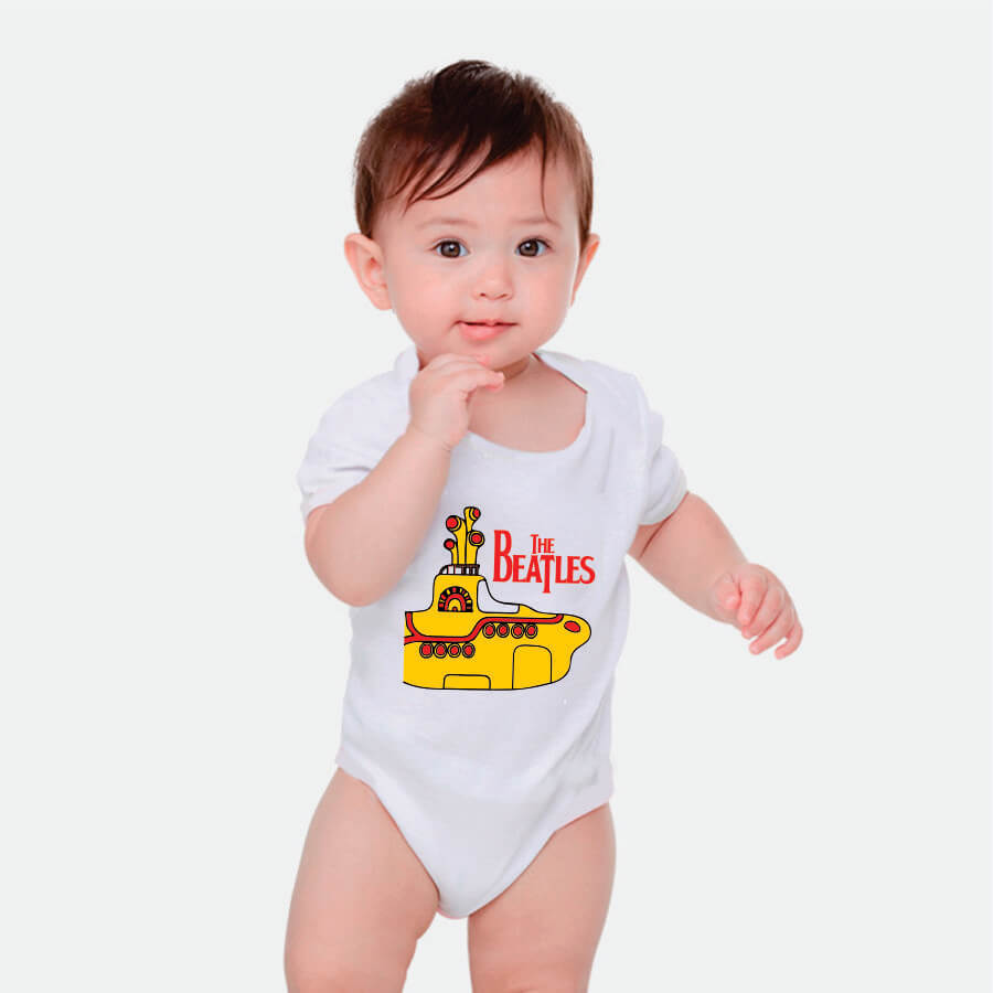 Body Bebe Beatles Yellow Submarine Manga Curta Branco