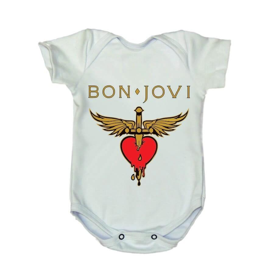 Body Bon Jovi Manga Curta Branco