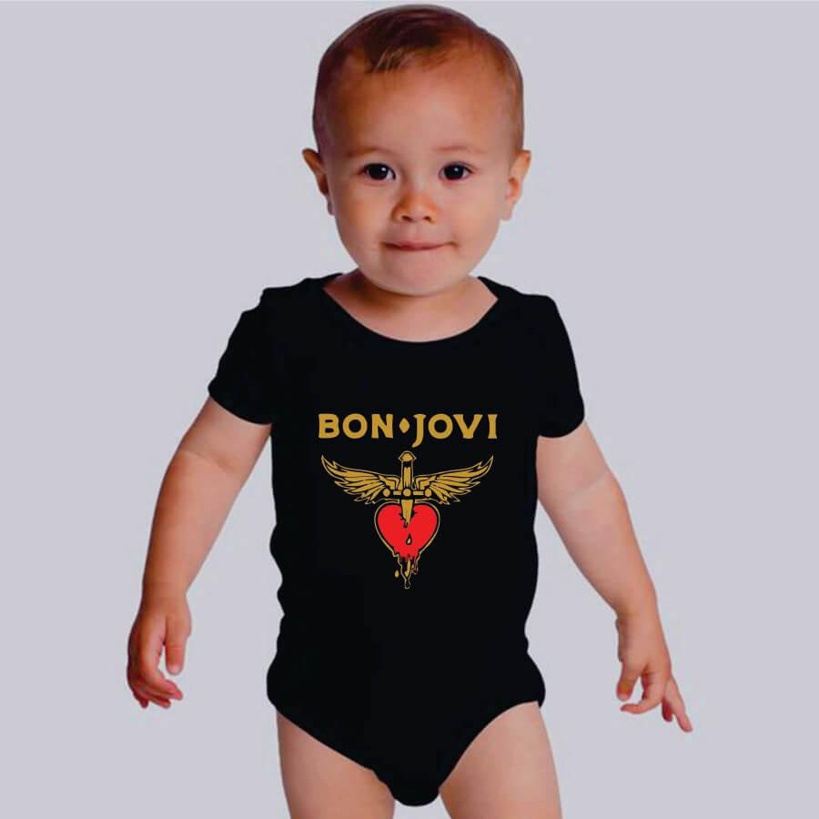 Body Bebe Bon Jovi Manga Curta Preto