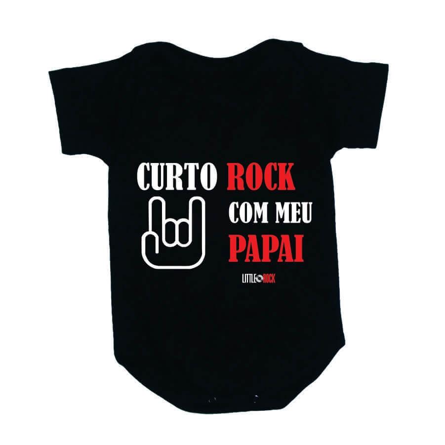 Body Bebe Curto Rock com o Papai Preto