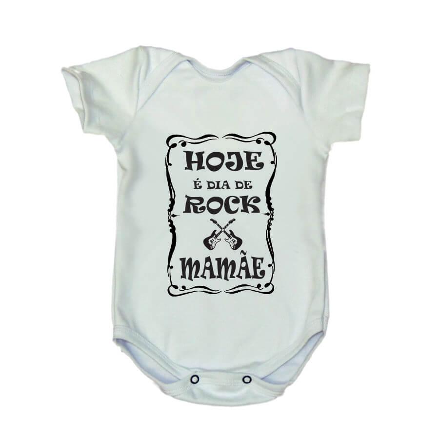 Body Divertido Hoje é Dia de Rock Mamãe Branco