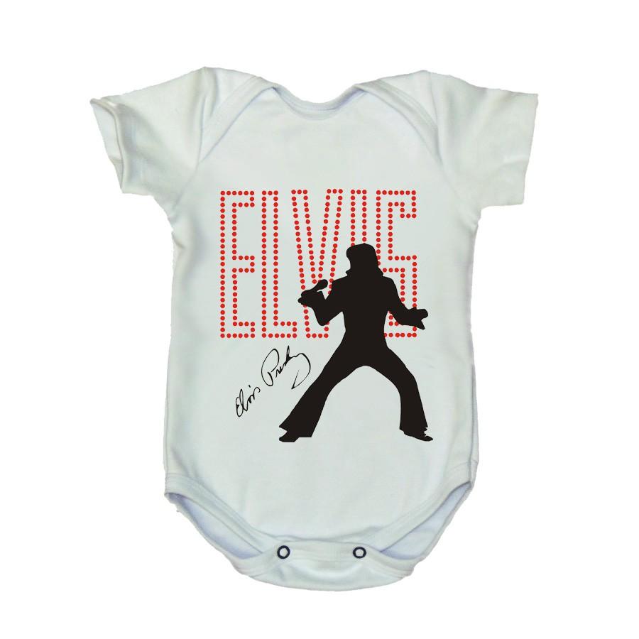 Body Elvis Manga Curta Branco