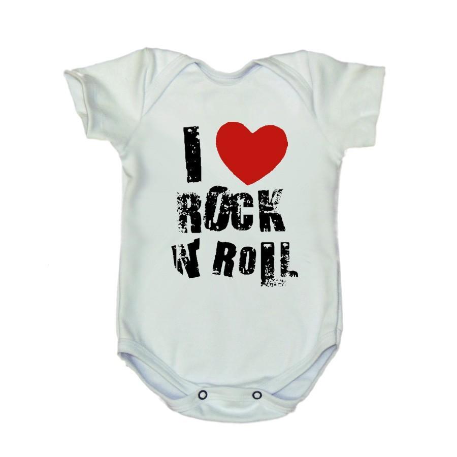 Body I Love Rock N Roll Manga Curta Branco