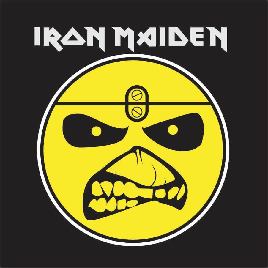 Body Iron Maiden Manga Curta Preto Ribana