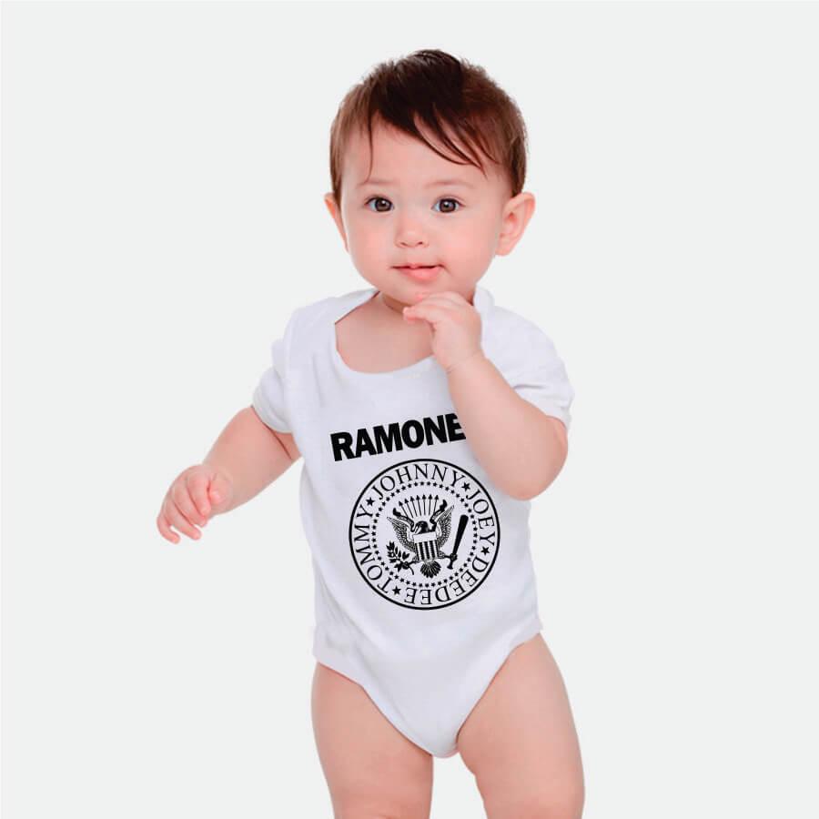 Body Manga Curta Ramones Branco