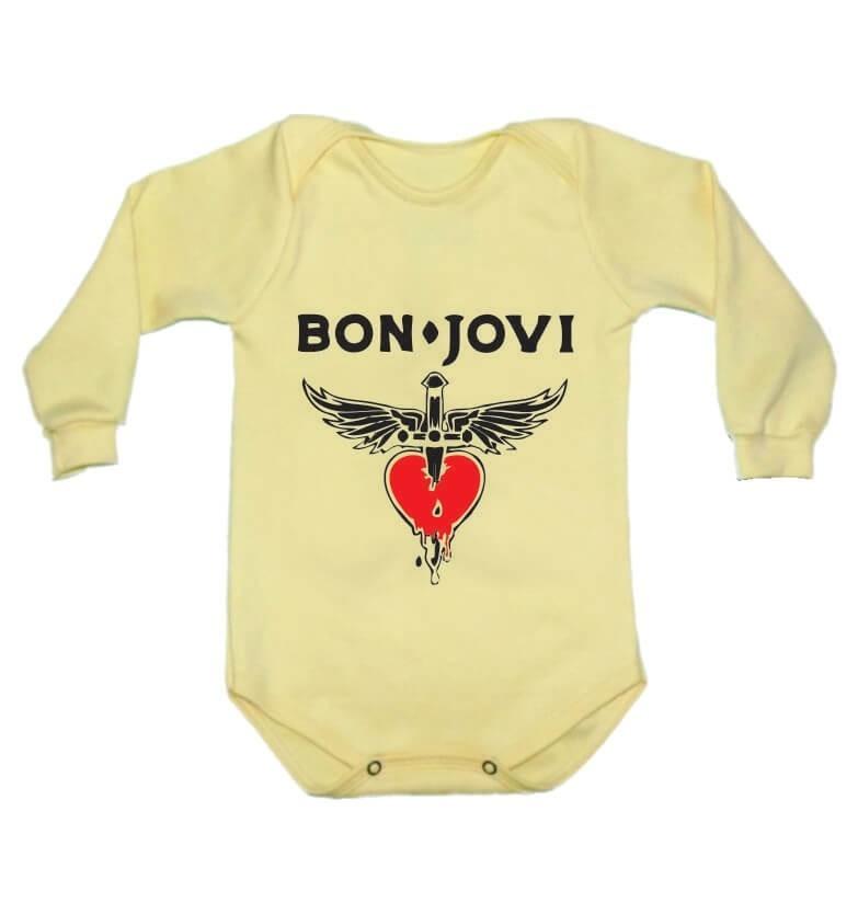 Body Manga Longa Bon Jovi Amarelo