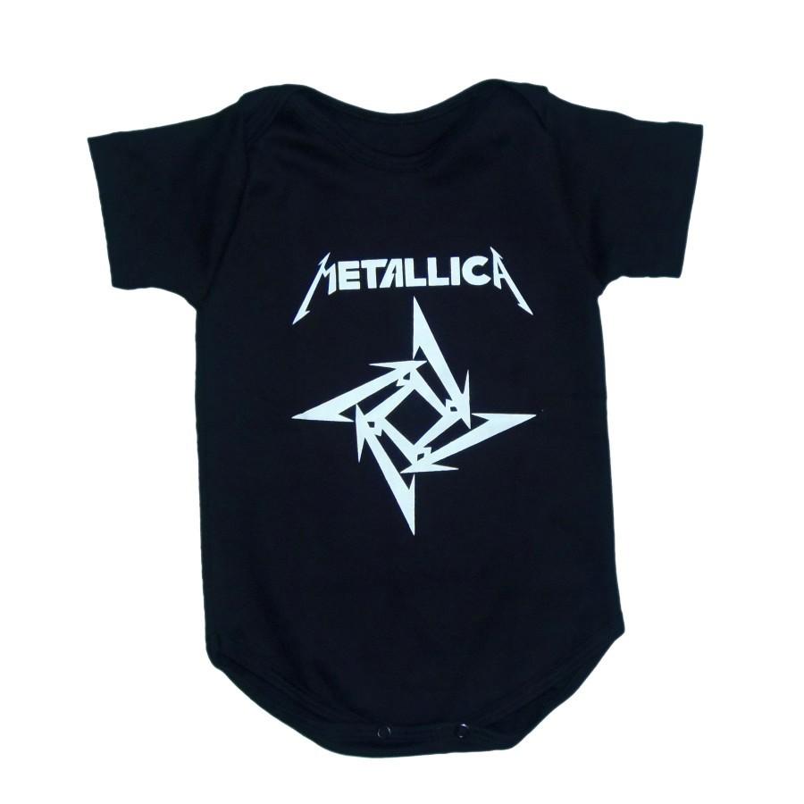 Body Metallica Manga Curta Preto
