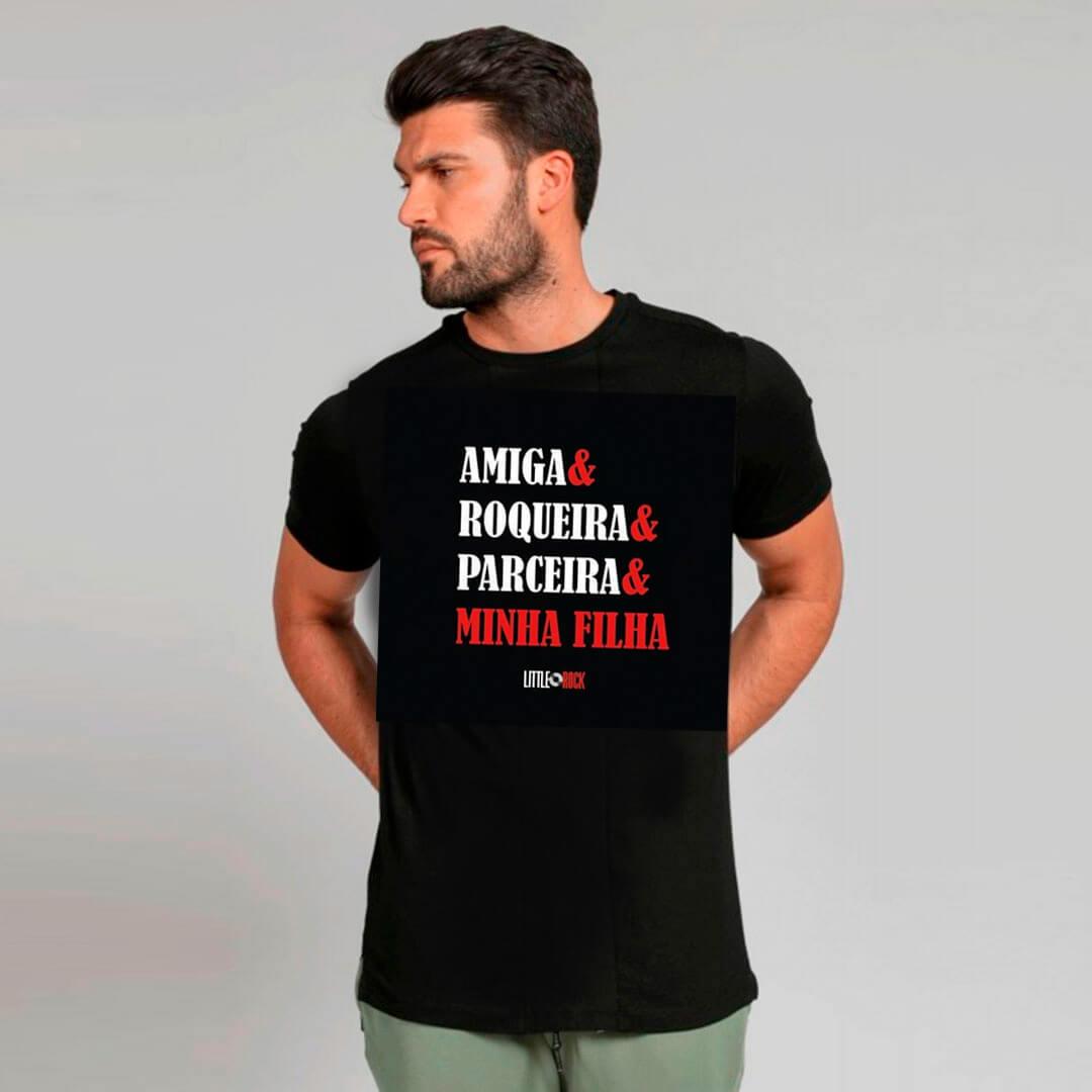 Camiseta ADULTO Amiga Roqueira Parceira Minha Filha