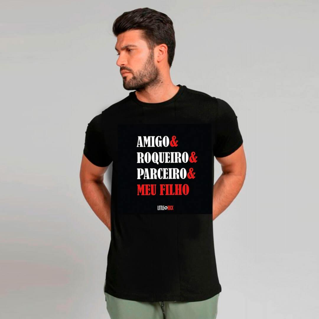 Camiseta ADULTO Amigo Roqueiro Parceiro Meu Filho
