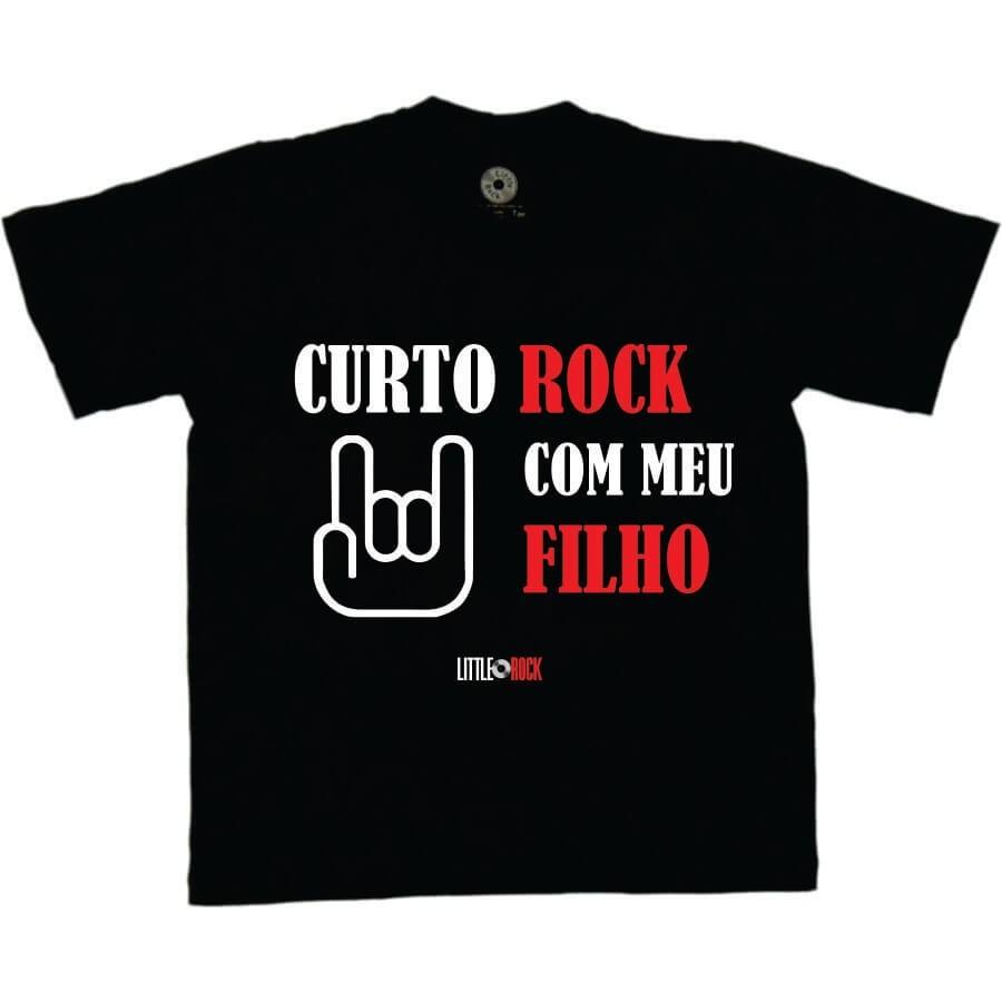 Camiseta ADULTO Curto Rock Com Meu Filho
