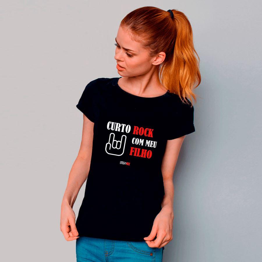 Camiseta ADULTO da Mamãe Curto Rock Com Meu Filho