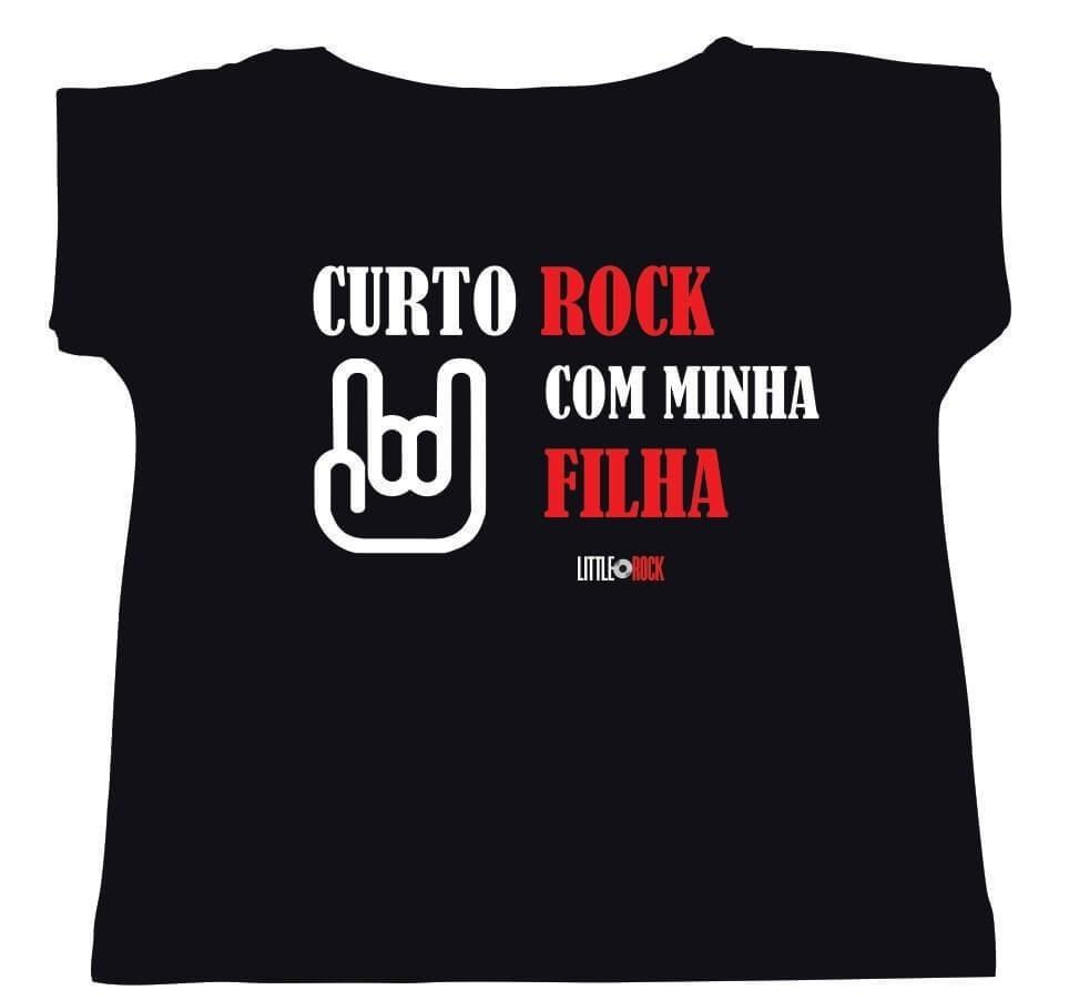 Camiseta ADULTO da Mamãe Curto Rock Com Minha Filha