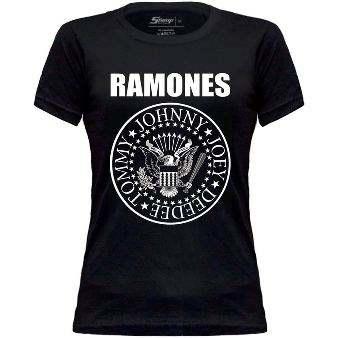 Camiseta Baby Look Adulto Ramones STAMP