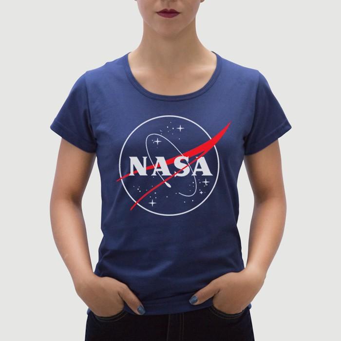 Camiseta Feminina Adulto NASA Azul