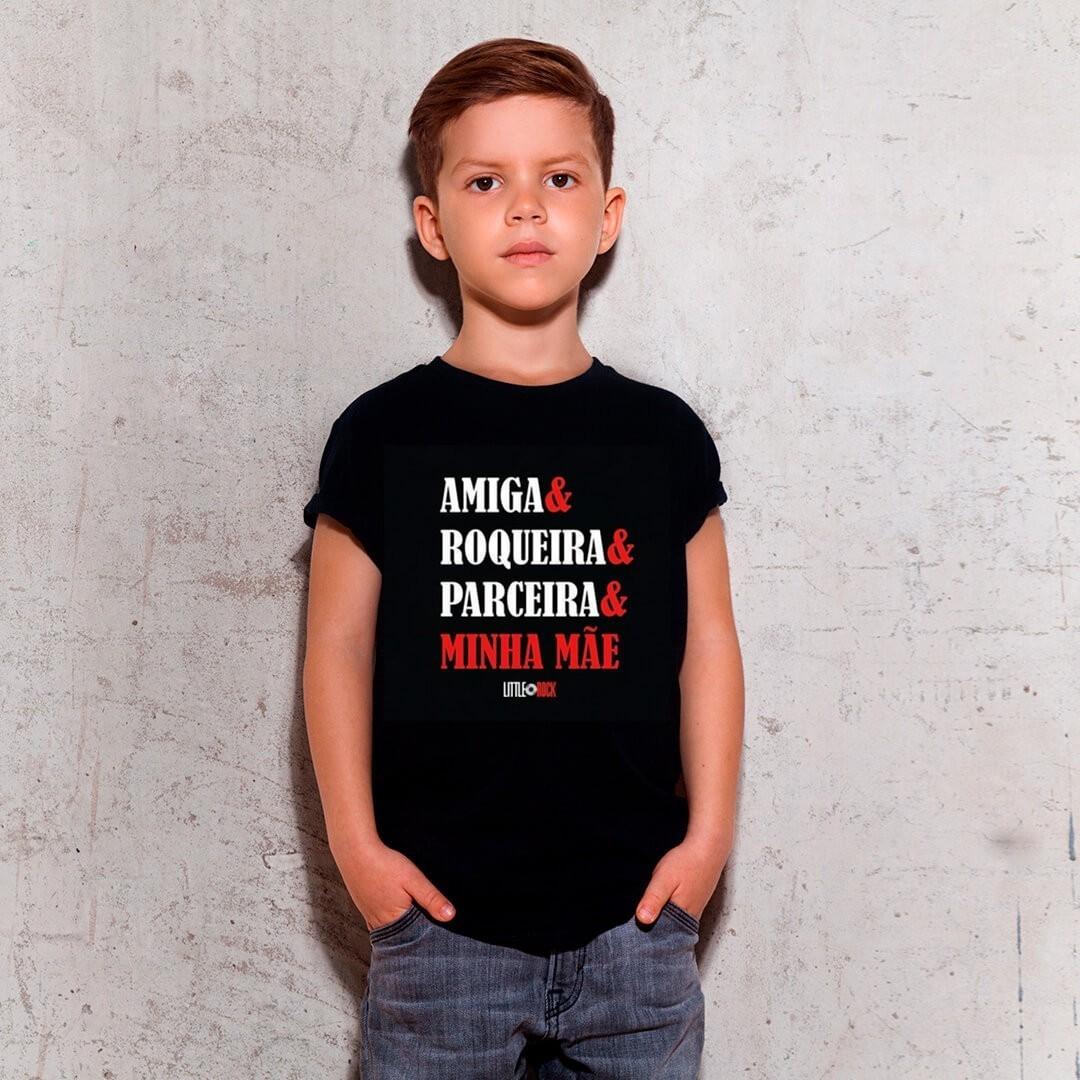 Camiseta INFANTIL Amiga Roqueira Parceira Mamãe