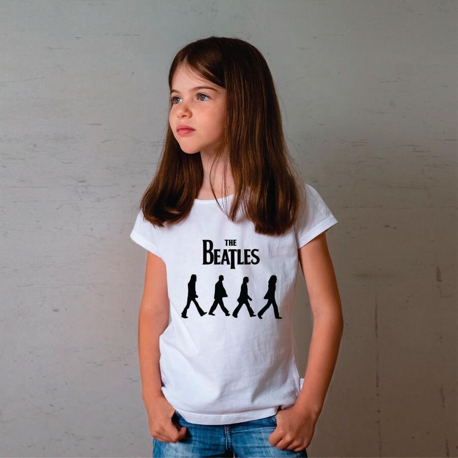 Camiseta Infantil Beatles Abbey Road Branca
