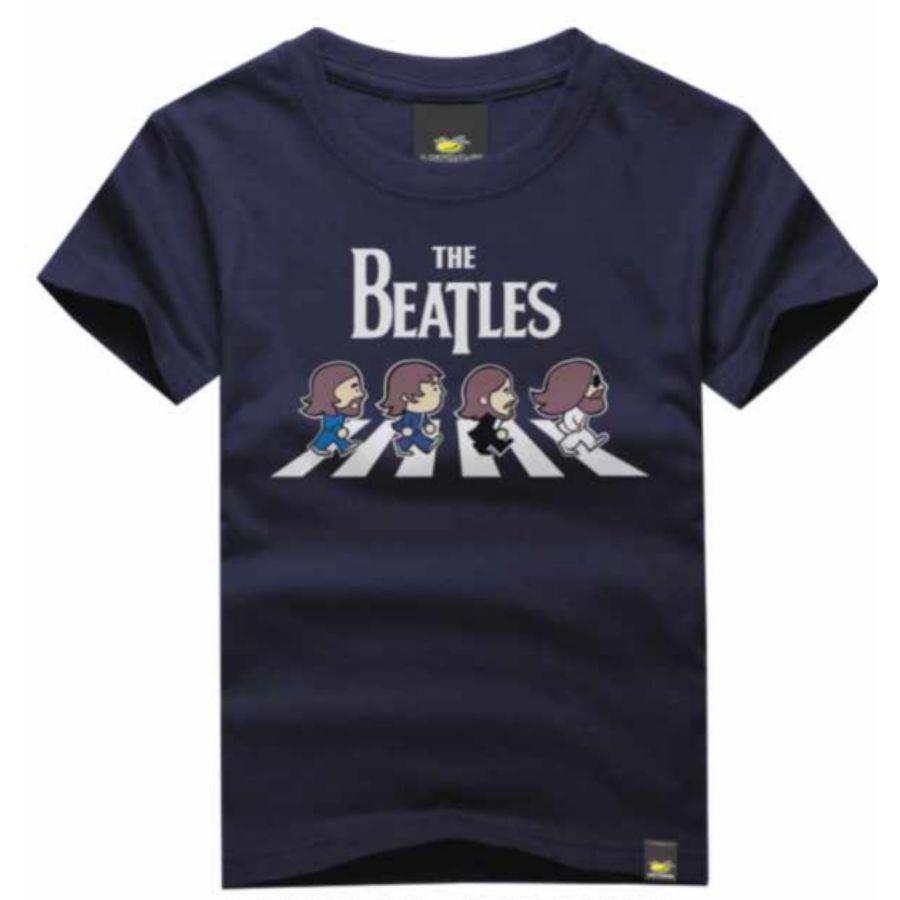 Camiseta Infantil Beatles Azul Marinho Art Rock