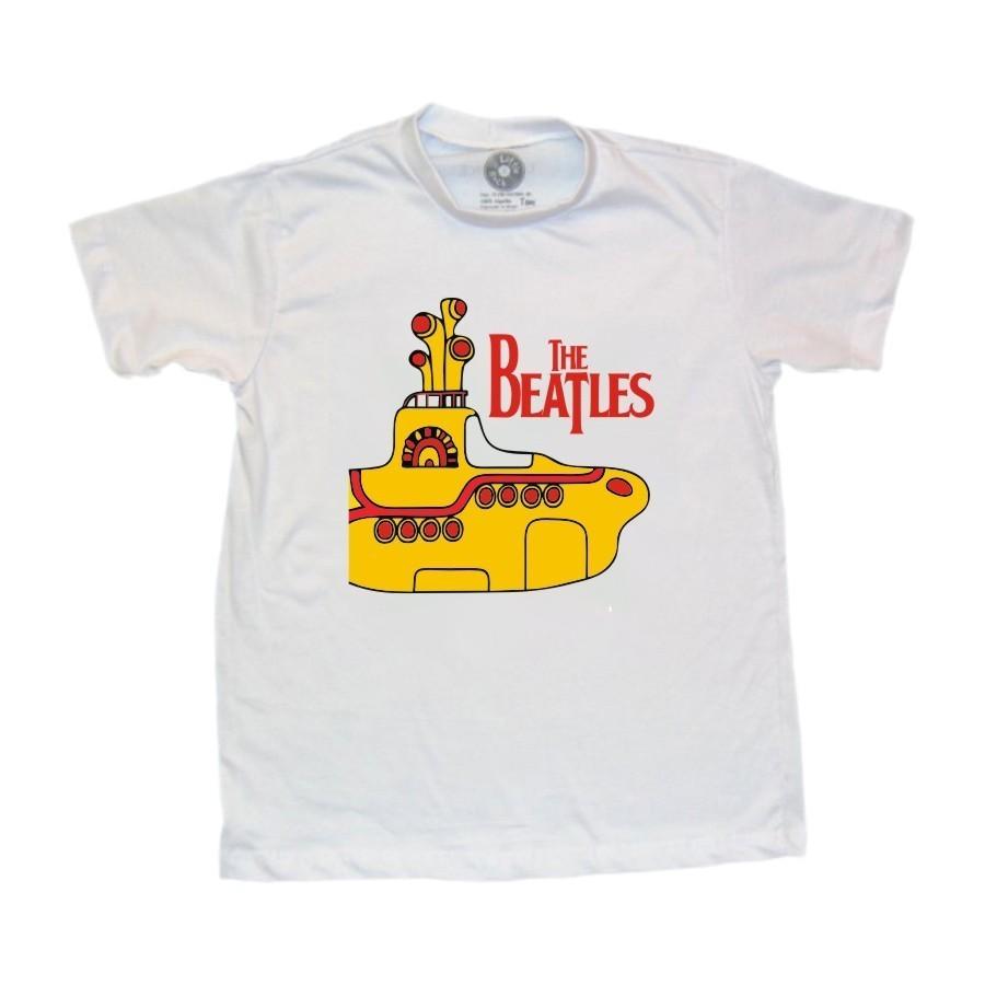 Camiseta Infantil Beatles Yellow Submarine Branca