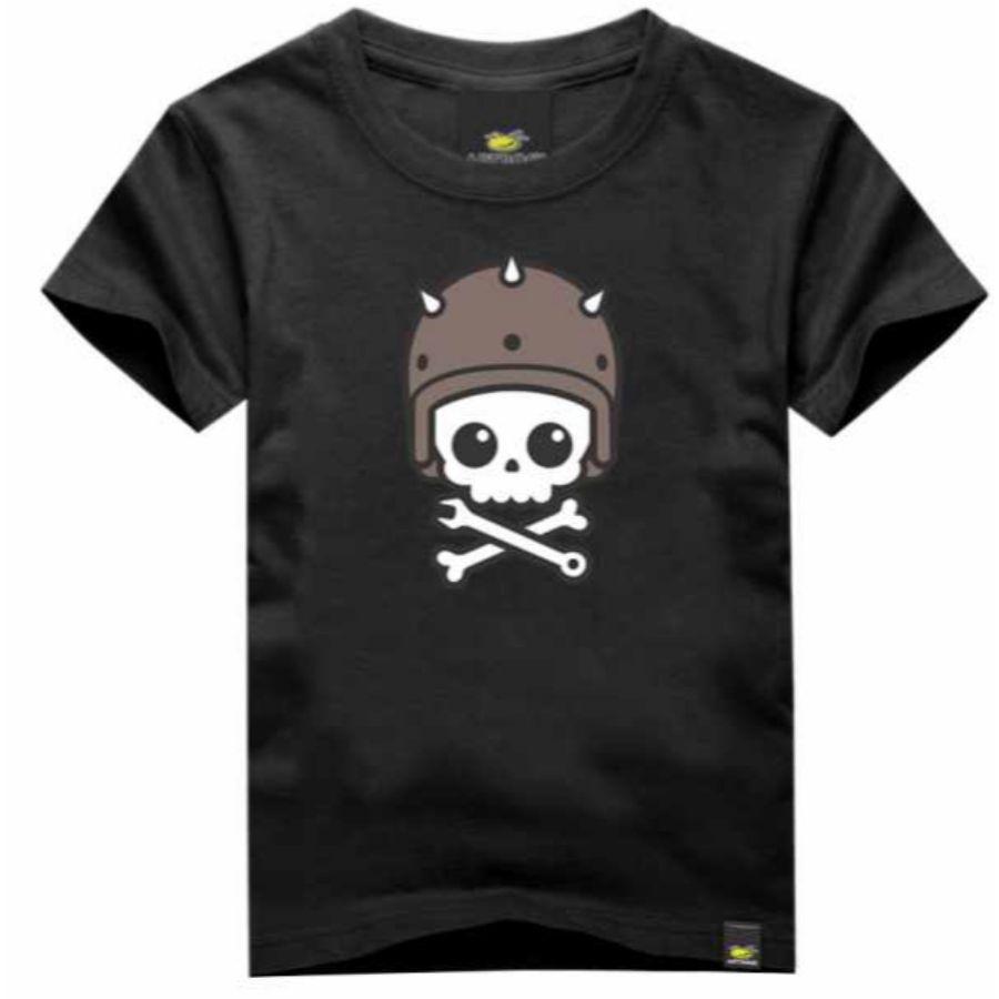 Camiseta Infantil Caveira Capacete Art Rock