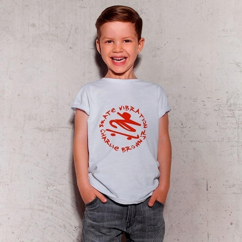 Camiseta Infantil Charlie Brown Jr Skate Vibration Branca