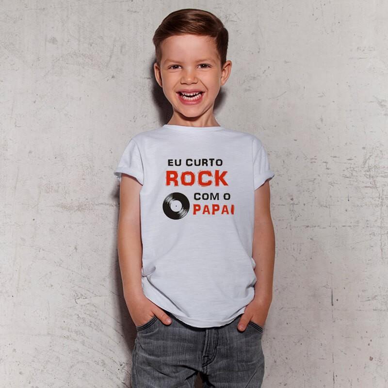 Camiseta Infantil Eu Curto Rock Com O Papai Branca
